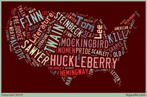map of United States with words from famous literature written across it