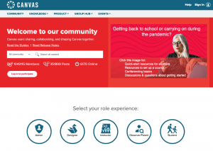 Screenshot of the Canvas Community