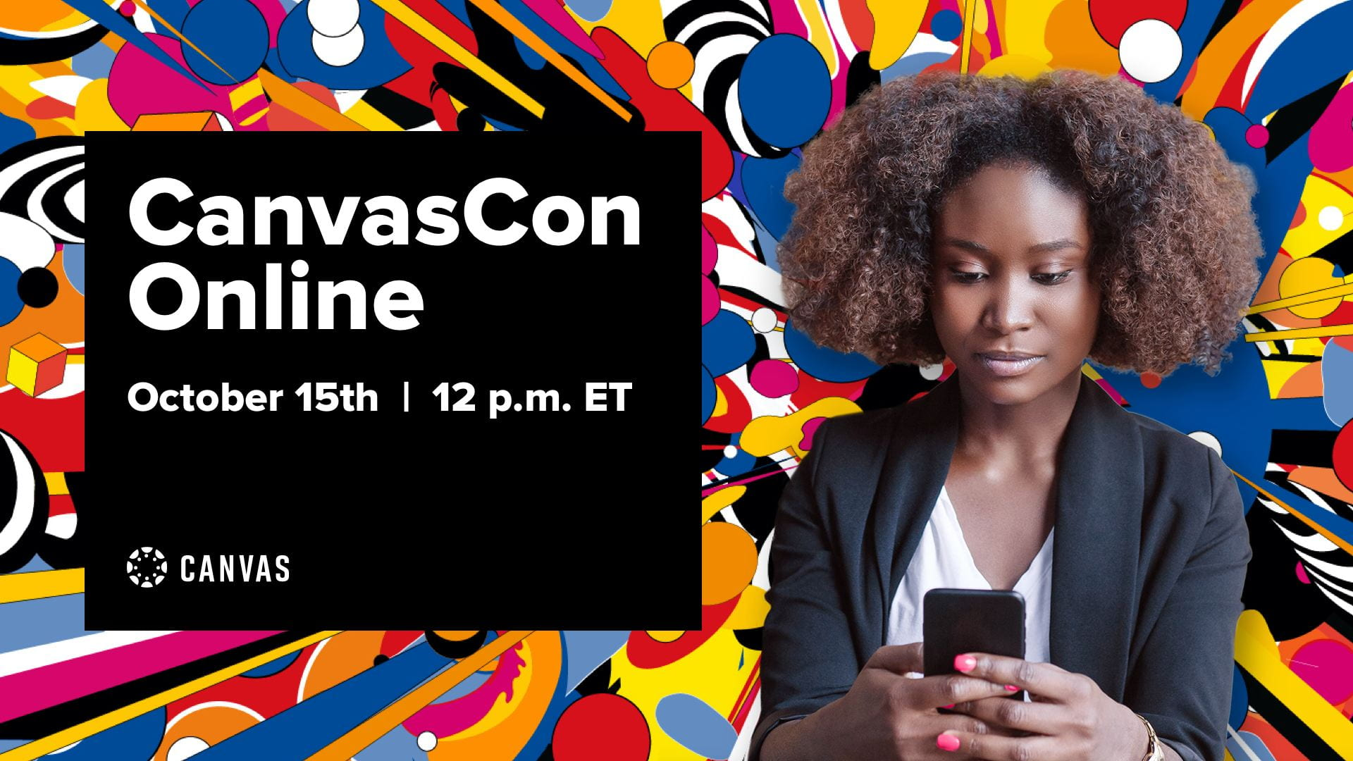 Banner showing CanvasCon, text on images says CanvasCon Online, October 15th at 12pm E.T