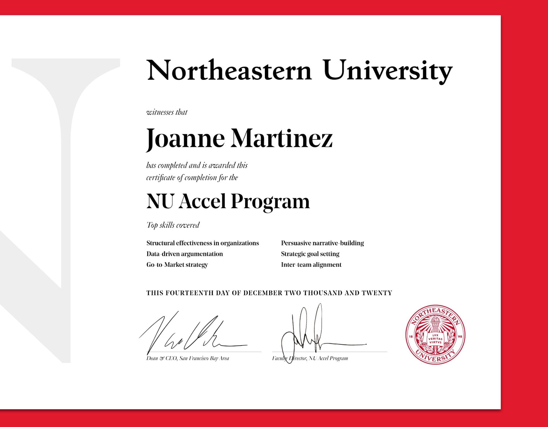 Image of the NU Accel certificate from Northeastern University
