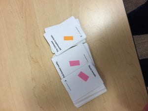 The cards labelled and ready to go