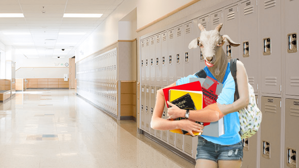 A half-human half-goat creature with school books and a backpack