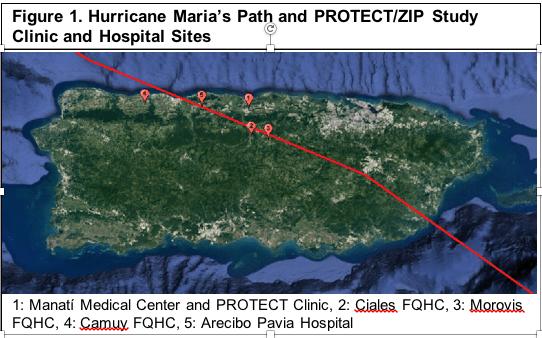 Hurricane Maria's Path and PROTECT/CRECE Clinics