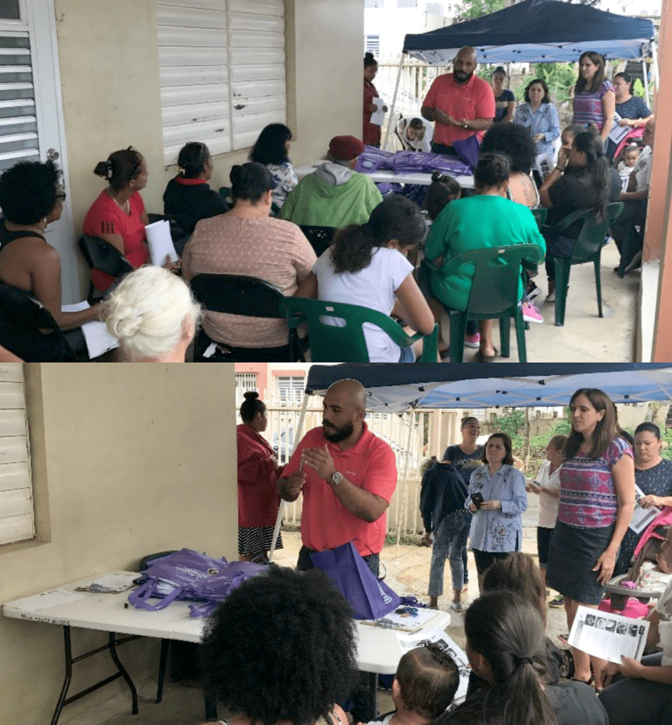 Trainee Hector Torres leading a community workshop on Mosquito Borne Illness Prevention on December 29th 2017