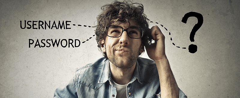 Young man confused about password