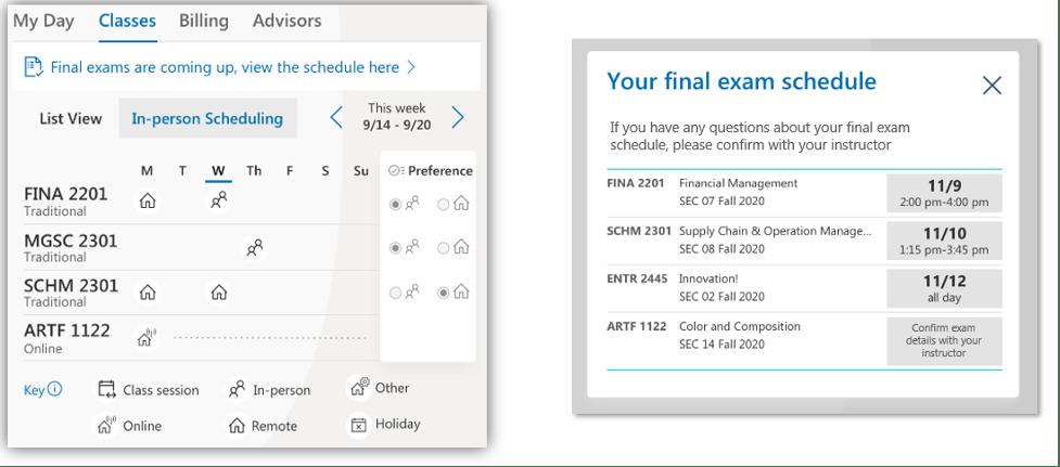 Student Hub screenshot showing final exam link
