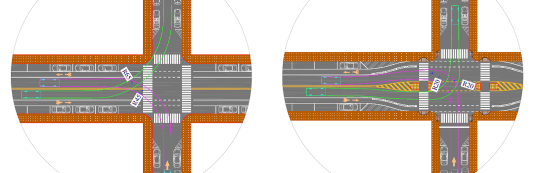 Safer Intersection Design Using Crossing Islands