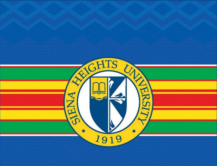 Kente Stole and Siena Heights Logo