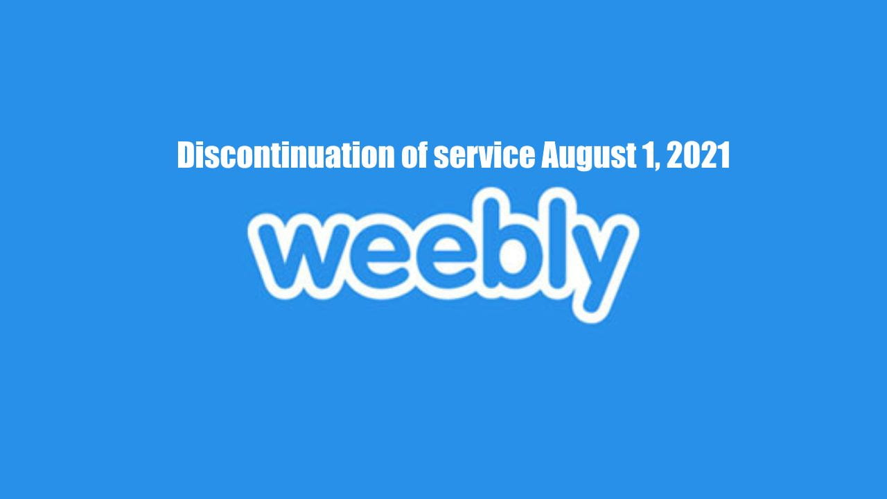 Decorative picture displaying information on the discontinuation of weebly