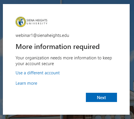 Screenshot of the More information required popup after logging into office.com.
