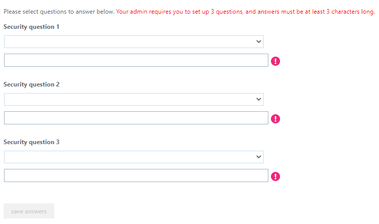 Screenshot of the security questions page for setting up account security.