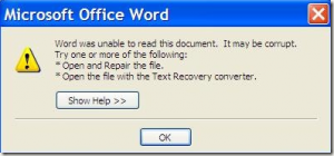 error message for microsoft word: file corrupted