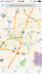 a snapshot of traffic in Austin on a typical morning