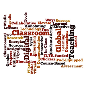 Word cloud with largest text: classroom, global, digital, teaching