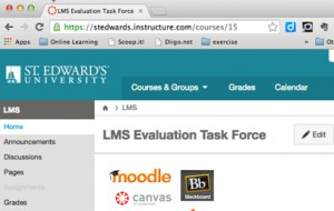 Canvas course page for LMS Evaluation Task Force with courses and groups, grades and calendar