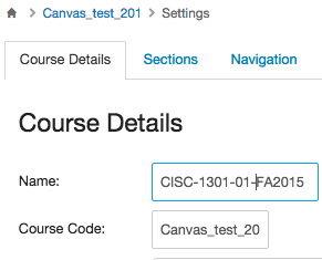 Course Details tab of Settings