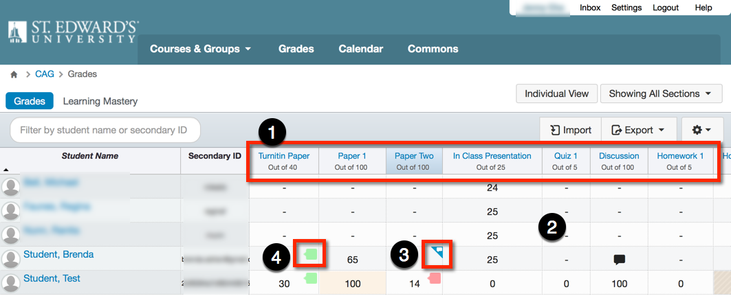gradebook screen