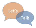Let's Talk graphic with word bubbles