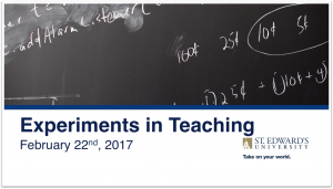 Experiments in Teaching