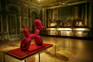 "This shocking pink Balloon Dog photographed on ""September 9, 2008, at the Château de Versailles sparked controversy as some visitors said the work was crude and too modern for Louis XIV's former palace."""
