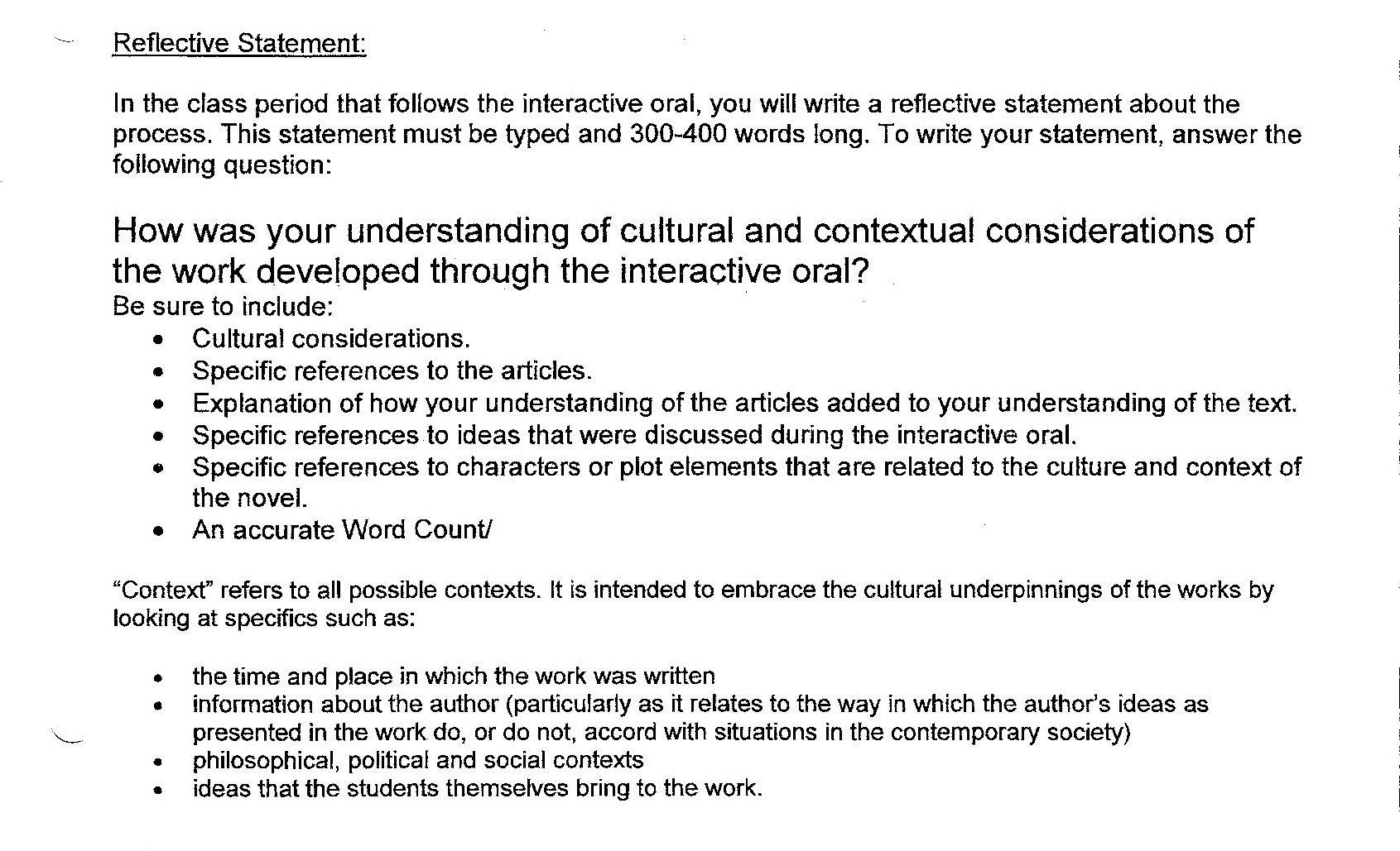 reflective statement The portfolio will also include a reflective statement: a personal discussion on  how your writing has met the goals of the course your instructor will collect your .
