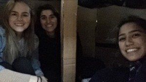the group inside the shelter.