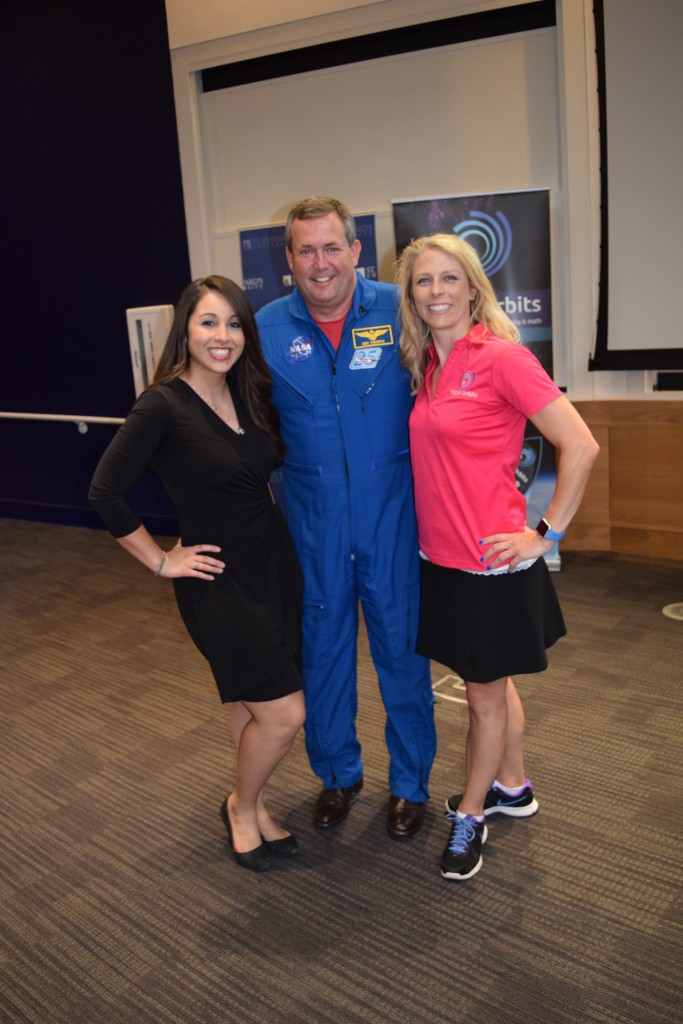 Natalie Ferrari (KXAN meteorologist), Mike Foreman (retired NASA astronaut), and Michelle Lucas (founder and CEO of Higher Orbits) at Go-For-Launch, 11 - 13 July 2016 at St. Edward's University