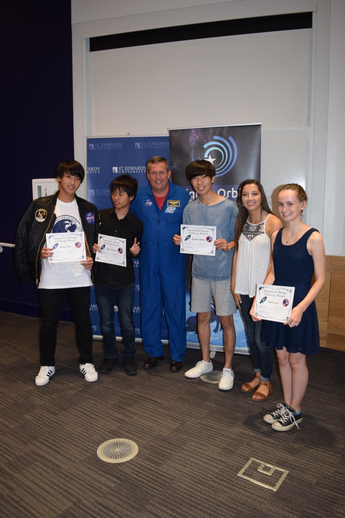 Winning team, Ryusei 5, with Astronaut Mike Foreman at the inaugural Go-For-Launch! event at St. Edward's University, 11 - 13 July 2016.