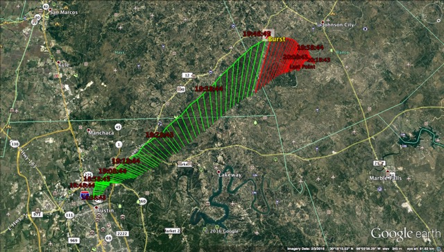 Google Earth images of the flight path for the Thurs., Aug. 4 weather balloon from St. Edward's Univ. Green are the ascending data and red are the descending data.