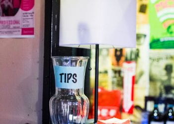 The tip jar on the front desk of Hyde Park Theater 2019-02-05