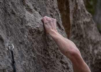 Climber performs the Crimpat the Barton Creek Greenbelt on 2/12/