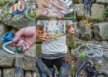 Sport climbing essentials (not pictures: harness) at St. Edward'
