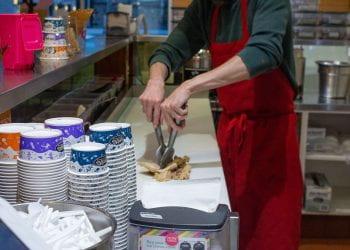 Jeff Mixing Ice Cream and Chocolate Sauce
