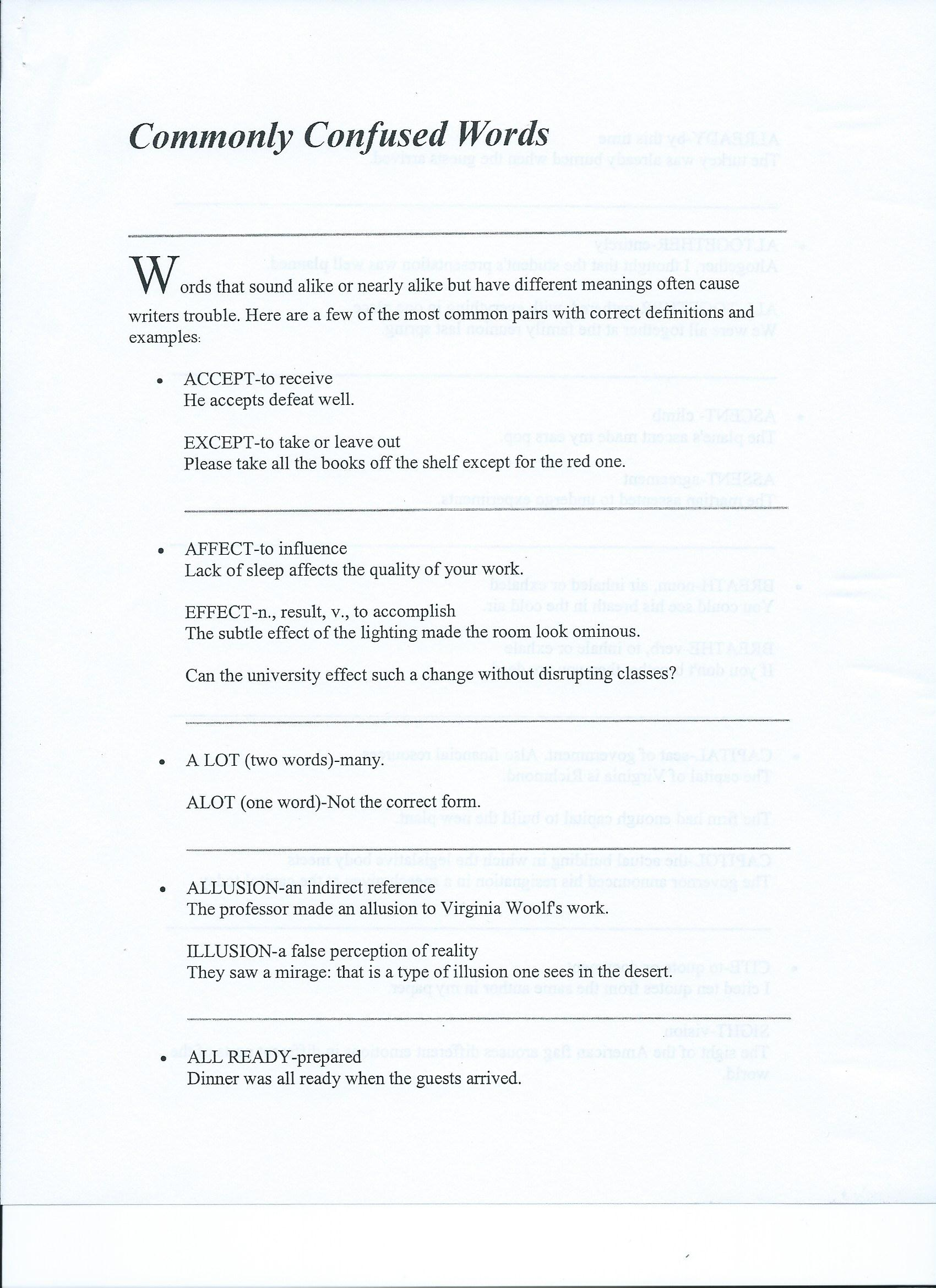 worksheet Commonly Confused Words Worksheet section 4 practicing learner centered professionalism joshua commonly confused words worksheet 1 2