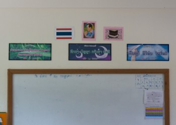 Whiteboard and Posters Inside Classroom
