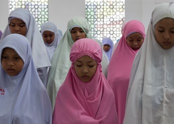 Girls Participating in Salat