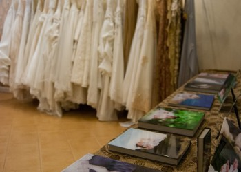 Wedding photobooks and dresses on display, Classic Studio, Nakhon Si Thammarat