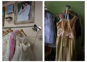 White wedding dress versus traditional Thai wedding dress, Tonrak Wedding Shop, Nakhon Si Thammarat City