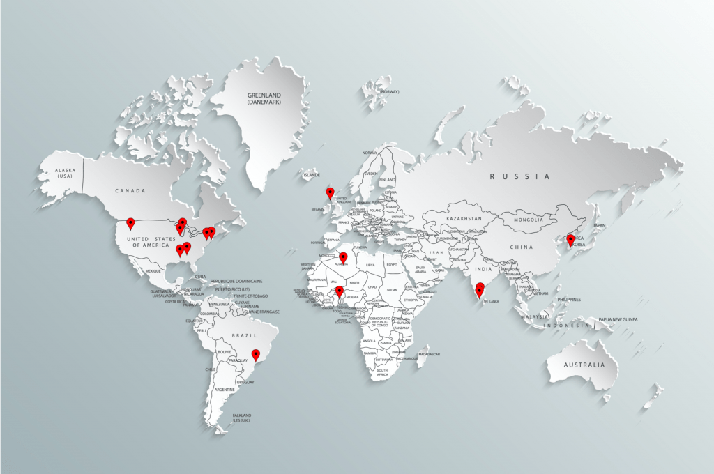 World Map with Pins of where team members are from