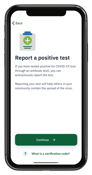 cellphone showing screen to report a positive test