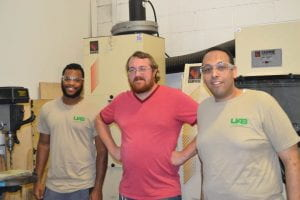 Christian Marshall (l) with Postdoc Mentor Dr. Mohamed Selim and Engineer Ben Willis