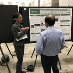 REU Paige Jackson presenting her work to an EXPO visitor