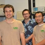 Paul de Montaudouin with Faculty Mentor LuFang Zhou (r) and Grad Student Mentor Patrick Ernst