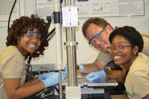 Aissah Kaba and Sherilynn Knight with Faculty Mentor Dr. Alan Eberhardt