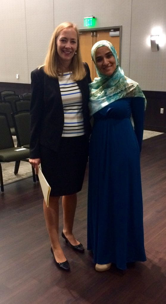 IHR Director Dr. Tina Kempin Reuter with speaker Dalia Mogahed.