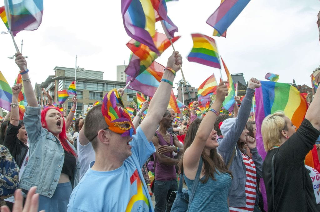 picture of a gay pride rally in Leeds, England