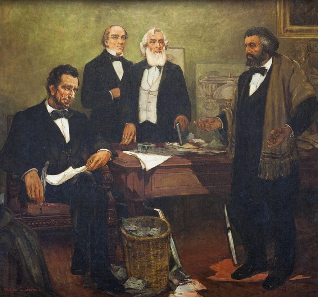 "Frederick Douglass appealing to President Lincoln and his cabinet to enlist Negroes,"" mural by William Edouard Scott,"