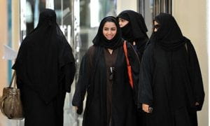 Saudi women walk inside the Faysalia shopping centre in Riyadh.