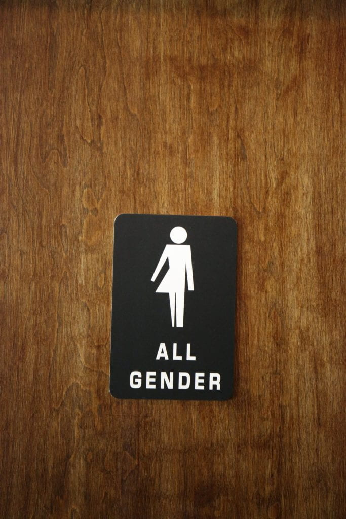 "A bathroom sign titled ""All Gender"""