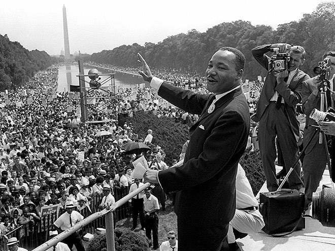 a picture of Dr. King at the March on Washington 1963